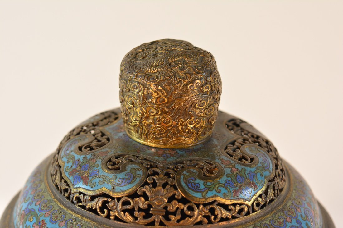 Chinese Imperial Cloisonne Censer with Chasing Detail - 2