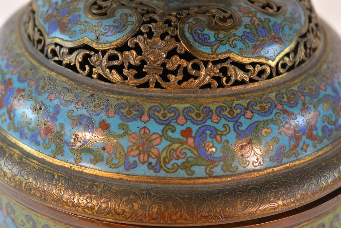 Chinese Imperial Cloisonne Censer with Chasing Detail - 3