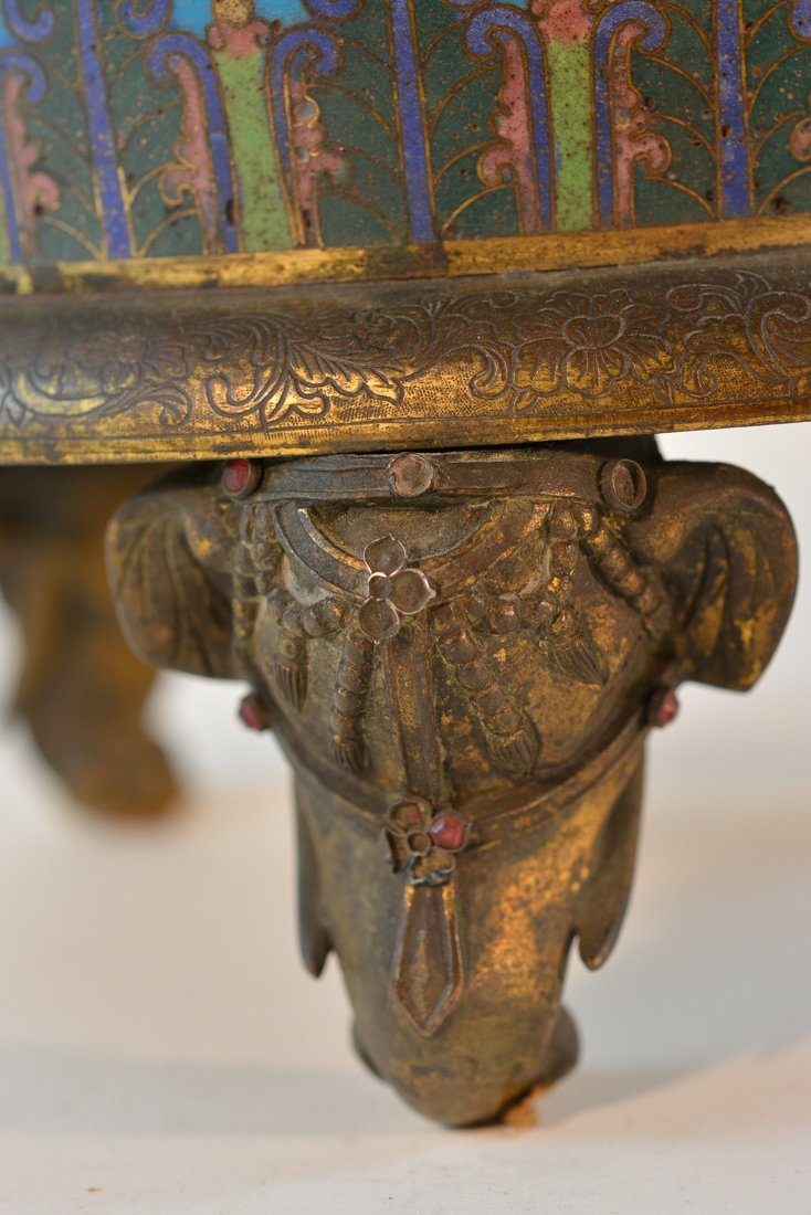 Chinese Imperial Cloisonne Censer with Chasing Detail - 6