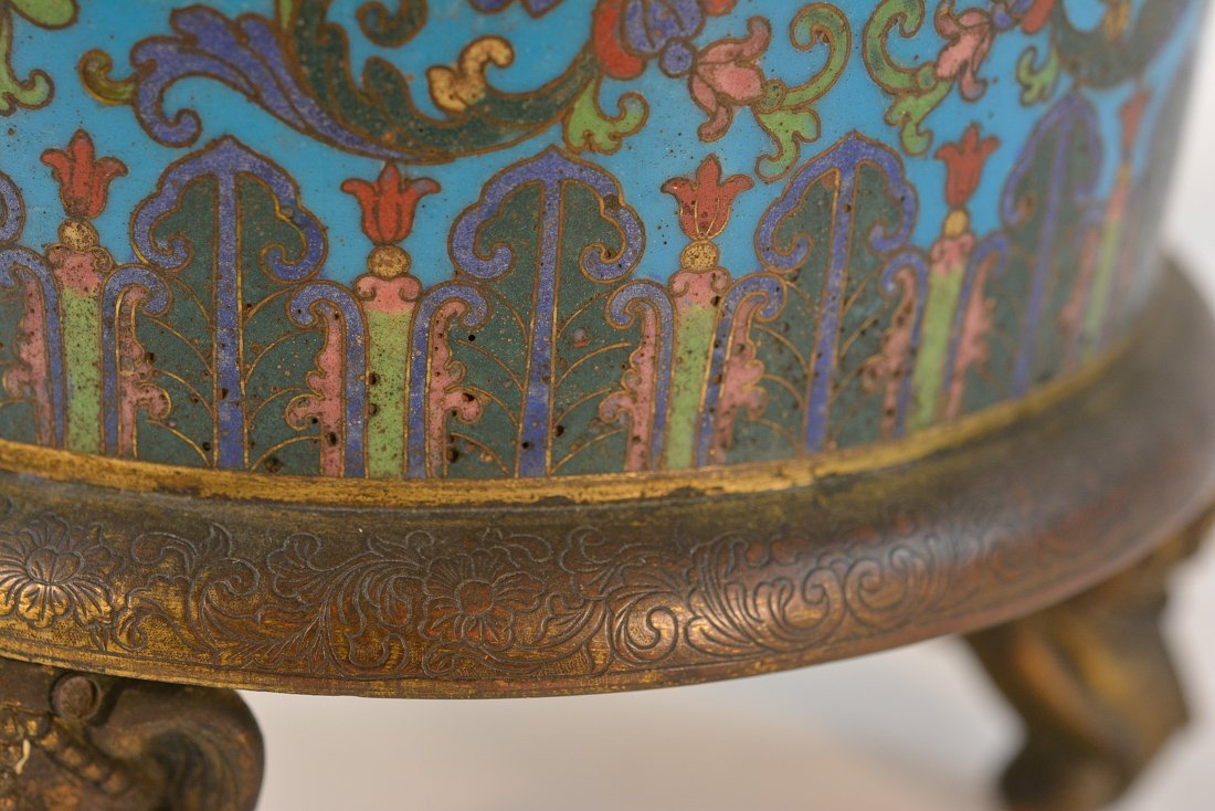 Chinese Imperial Cloisonne Censer with Chasing Detail - 7