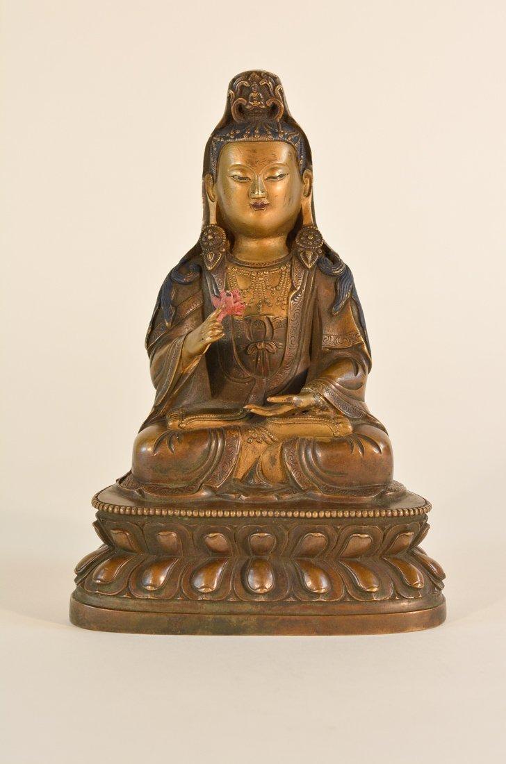 Chinese Bronze Seated Lotus Kuanyin