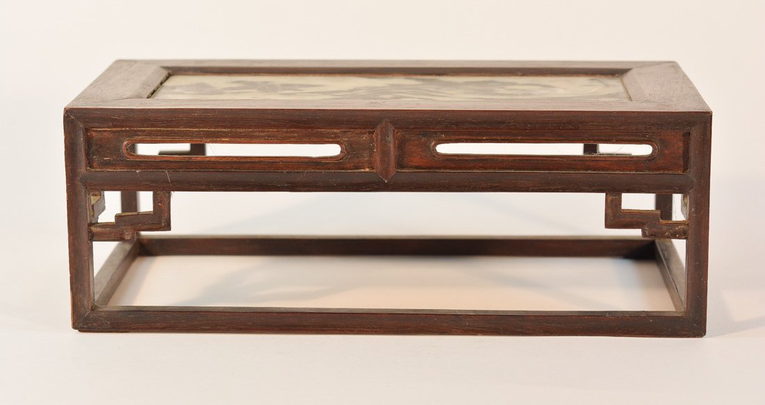 Chinese Wood Miniature Table Stand with Dream Stone
