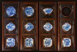 Set of Four Chinese Porcelain Tiles Blue White
