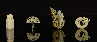 Group of Four Chinese Jade and Jadiete Articles