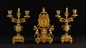 French Gilt Bronze Three Piece Clock Graniture Set