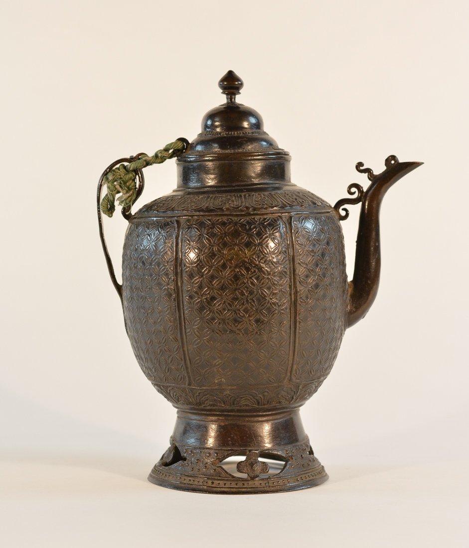 Chinese Yuan Ming Bronze Wine Ewer