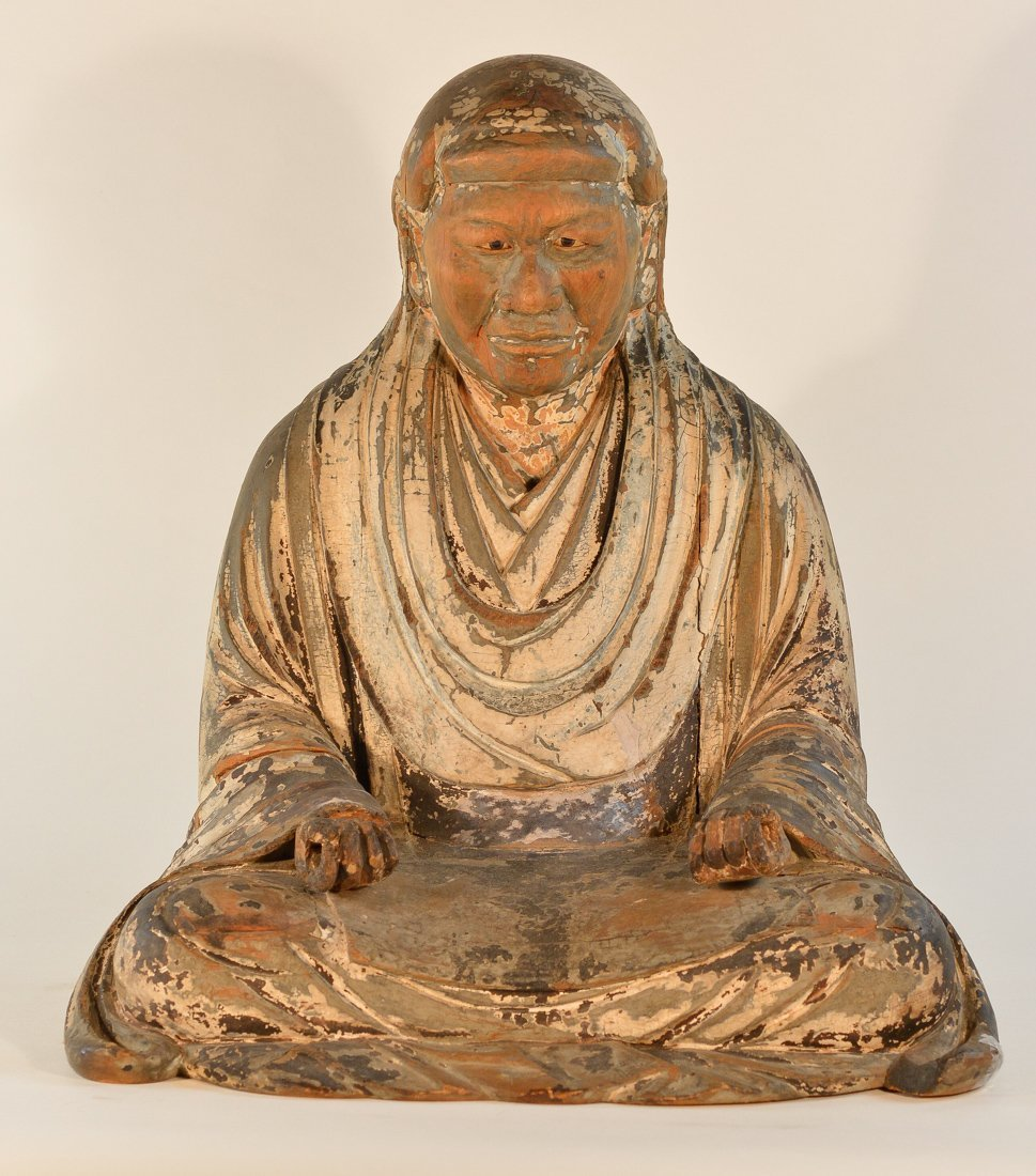 Early Japanese Lacquered Wood Monk - Kamakura