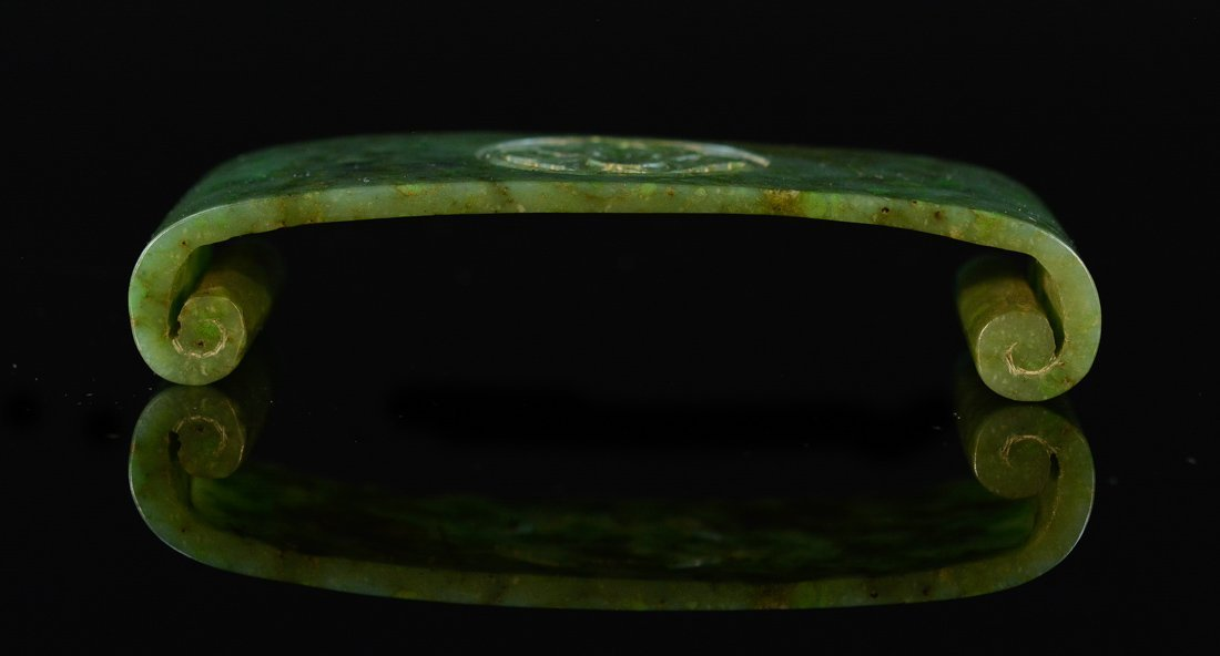 Chinese Spinach Green Jade Scholar Brush Rest
