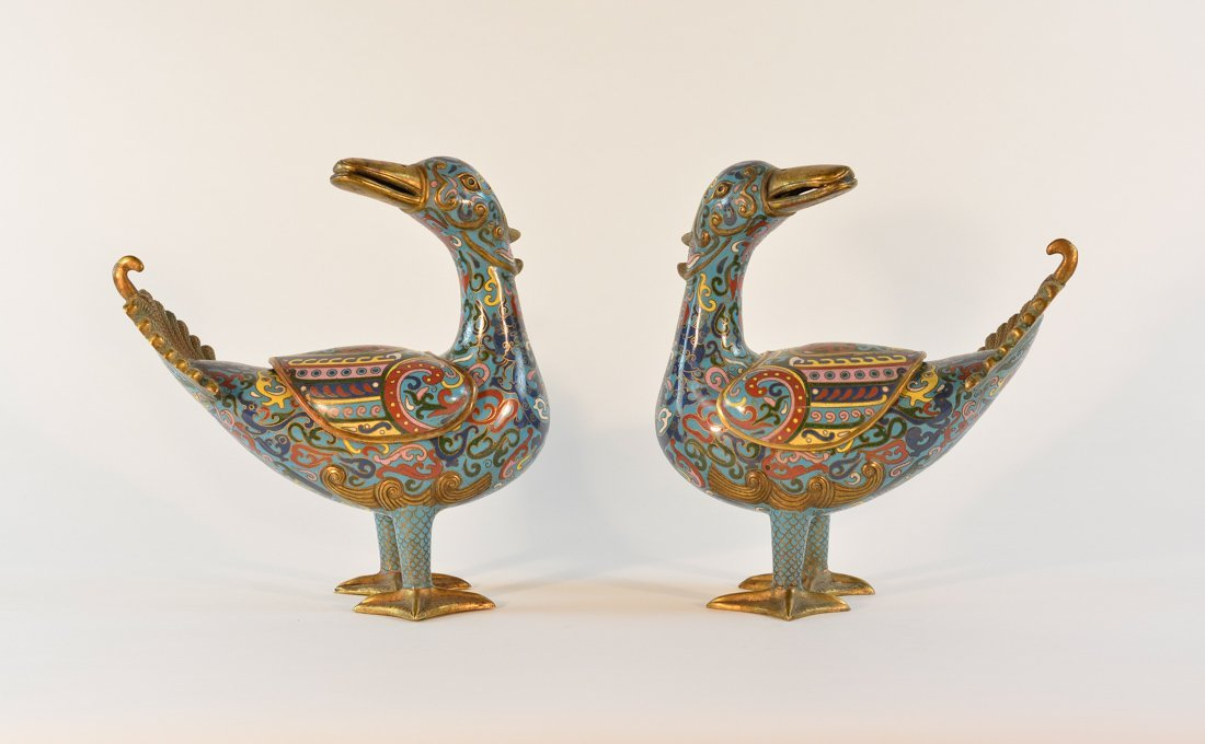 Pair Chinese Cloisonn Ducks