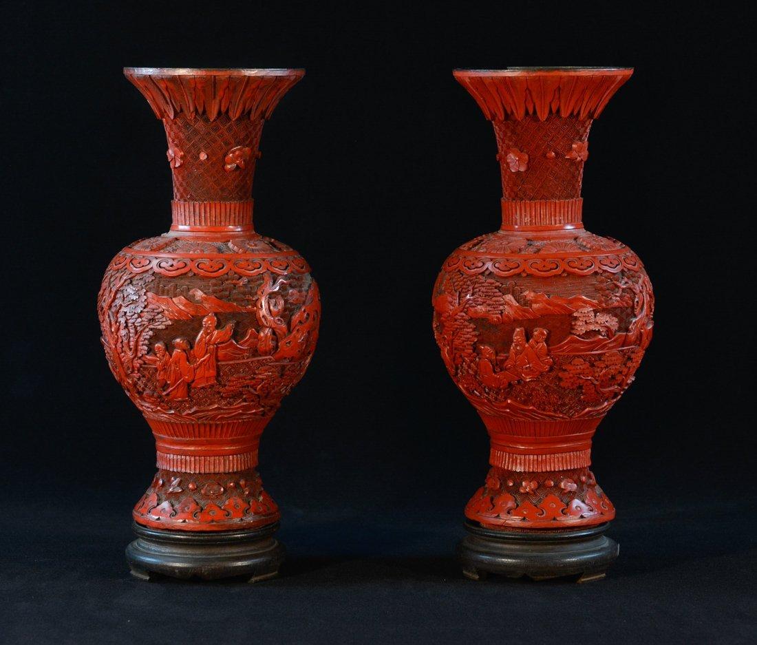 Pair Chinese Cinnebar Vases