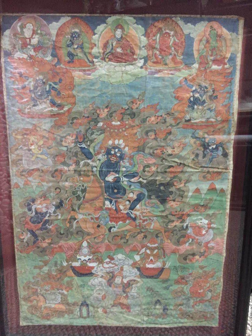 Mongolian Tibetan Thangka Painting of Lhamo