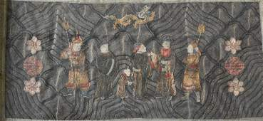 Chinese 19th cen Embroidery Panel of Scholar and