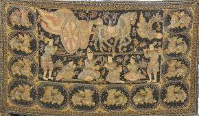 Large Siamese Thai Embroidery Panel of Horse Carriage