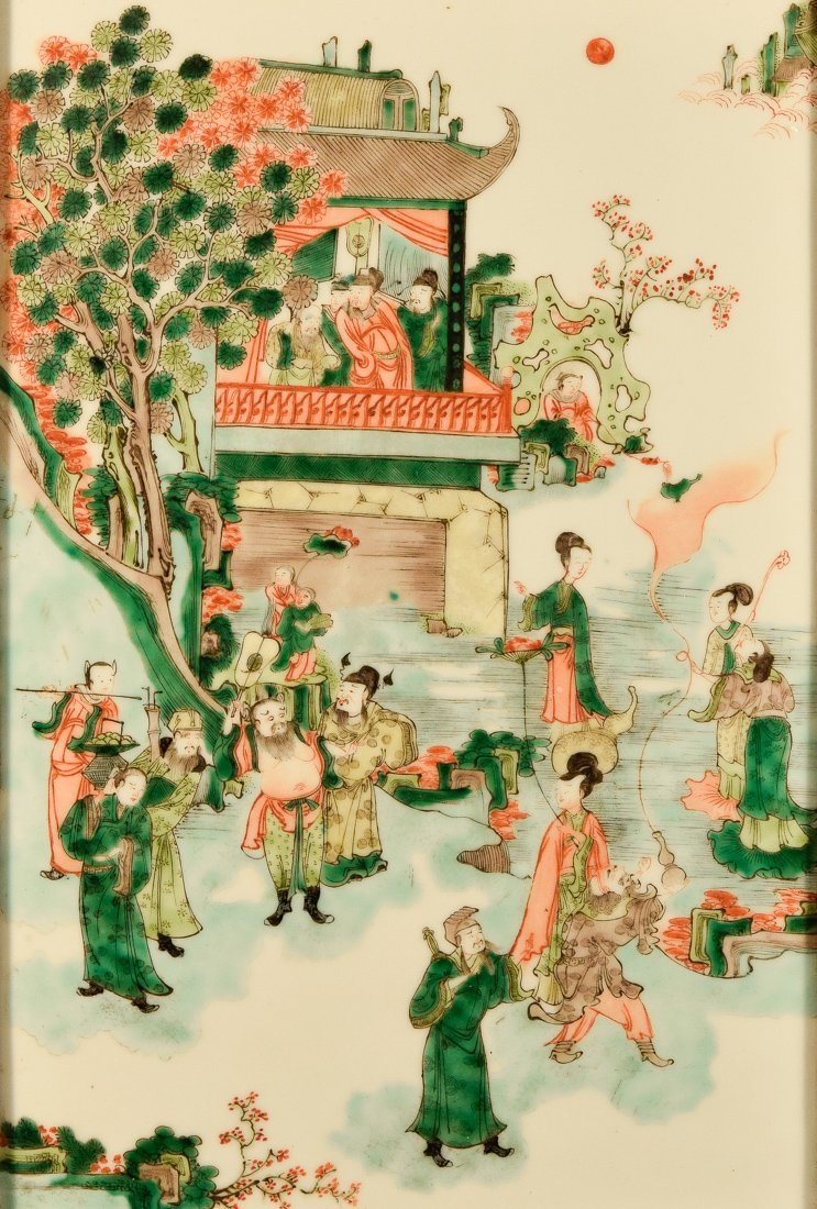 Chinese Famille Verte Porcelain Plaque with Figural