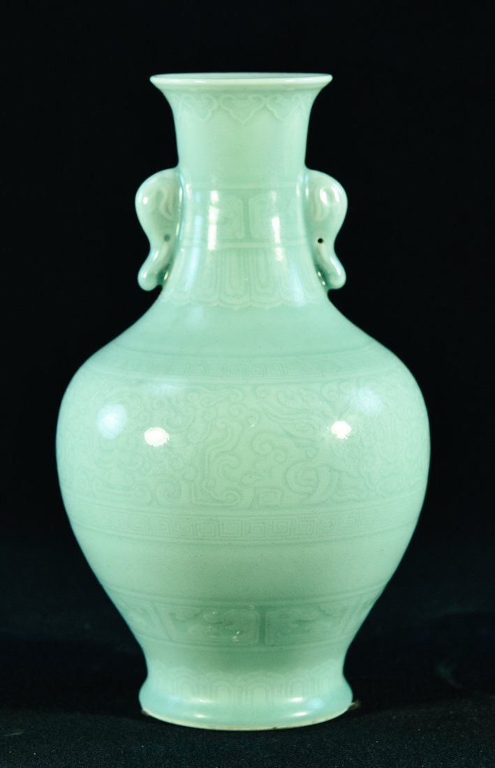 Chinese Celadon Porcelain Vase with incised Decoration