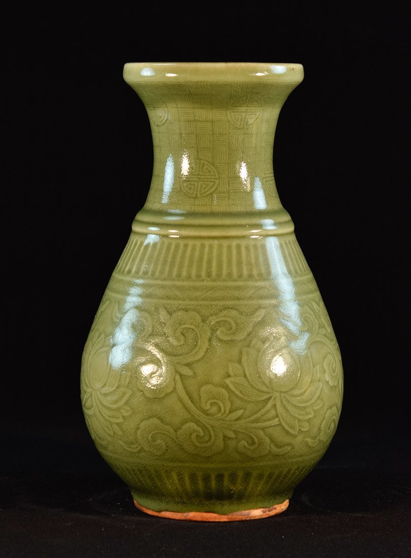 Chinese Celadon Porcelain Vase with Molded Design
