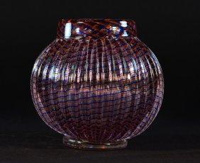 Modern Murano Art Glass Ridged Vase