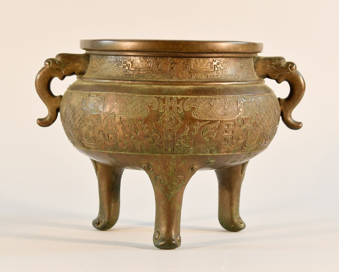 Chinese Bronze Censer with Incised Decoration