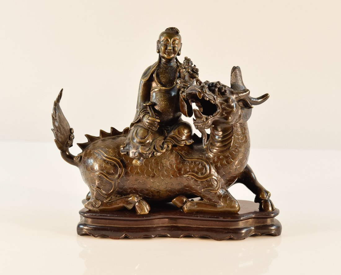 Chinese Bronze Kirin with Sage