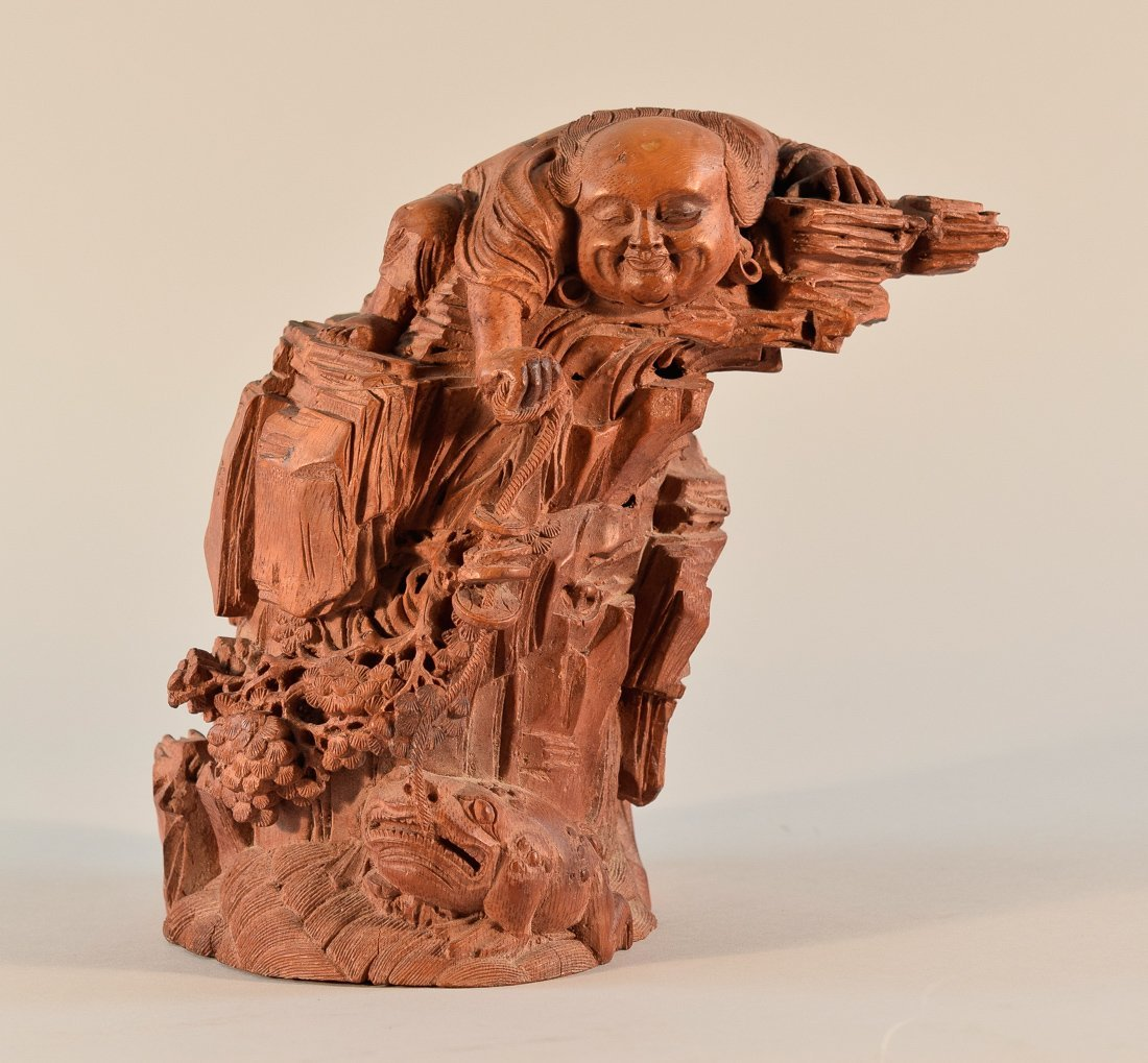 Chinese Carved Bamboo Louhai with Toad