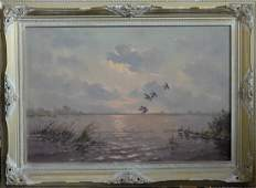 Oil on Canvas Painting of Hunting Scene