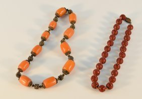 Chinese Amber And Cinnebar Beads