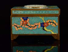Chinese Cloisonné Box with Jade Plaque