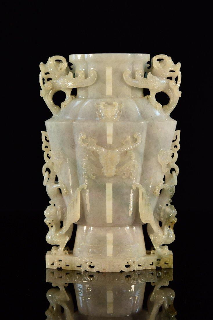 Chinese Jadeite Vase with Archaic Bird Motif