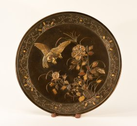 Large Japanese Mixed Metal Charger With Hawk Scene