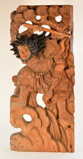 Large Japanese Carved Wood Panel With Samurai