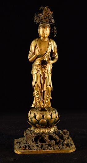 Japanese Gold Lacquered Wood Standing Kuanyin