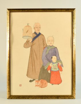 Unusual Chinese Water Color Painting Of Manchuria