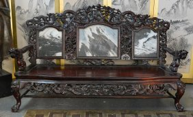 Large Chinese Rosewood Settee