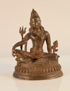 Nepalese Tibetan Bronze Seated Deity With Silver