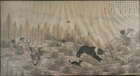 Chinese Painting Of Bear Hunting