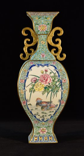 Chinese Enamel Vase With Peony Scene