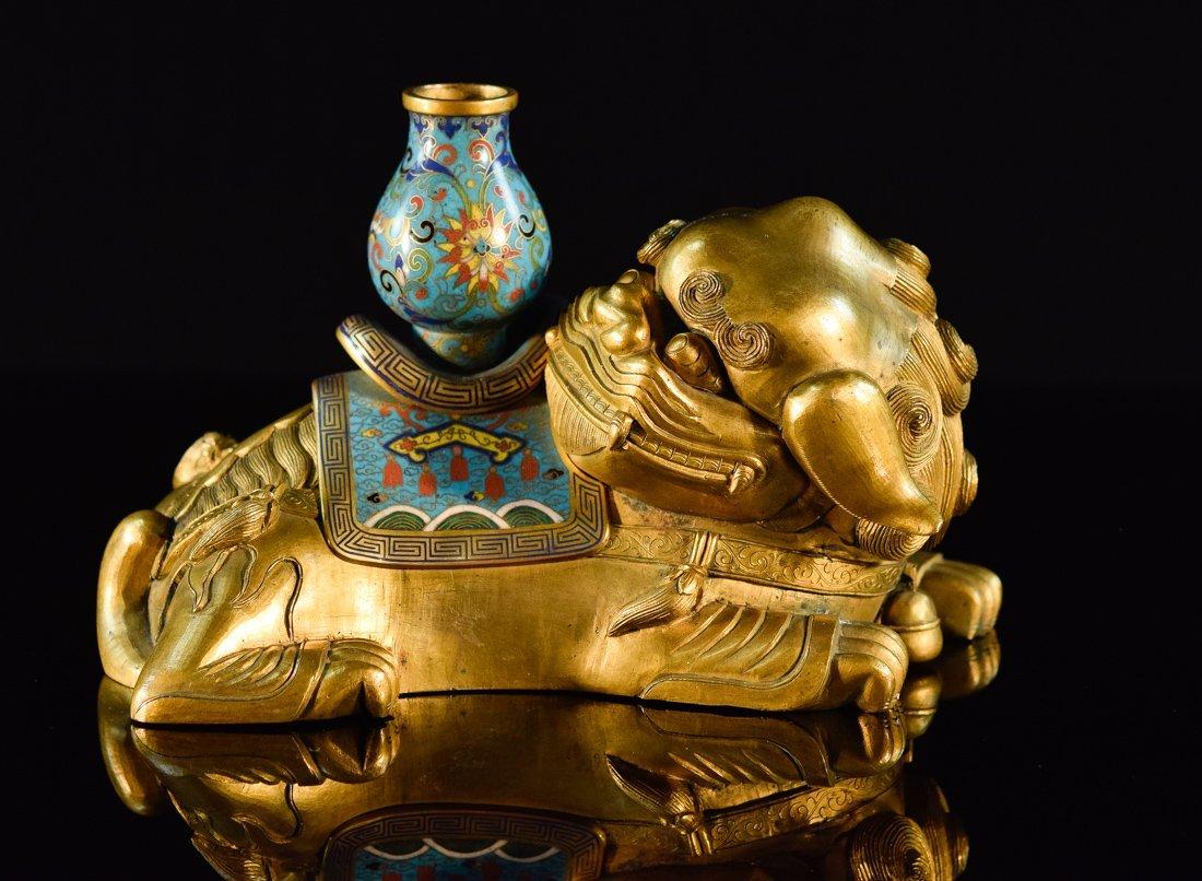 Chinese Gilt Bronze Cloisonné Buddhist Foolion