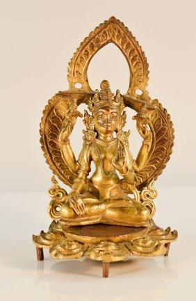 Tibet Bronze Seated Buddha With Mandola And Lotus Base