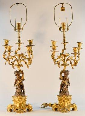 Pair French Bronze Candelabra Of Cherub Scene