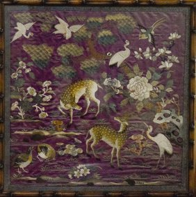 Chinese Embroidery Panel Of Deer Scene