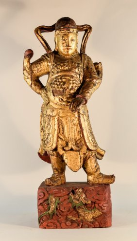Large Chinese Wood Guardian With Gold Lacquer