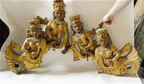 Pair of Large Carved Indian Wood Figurine with Cast