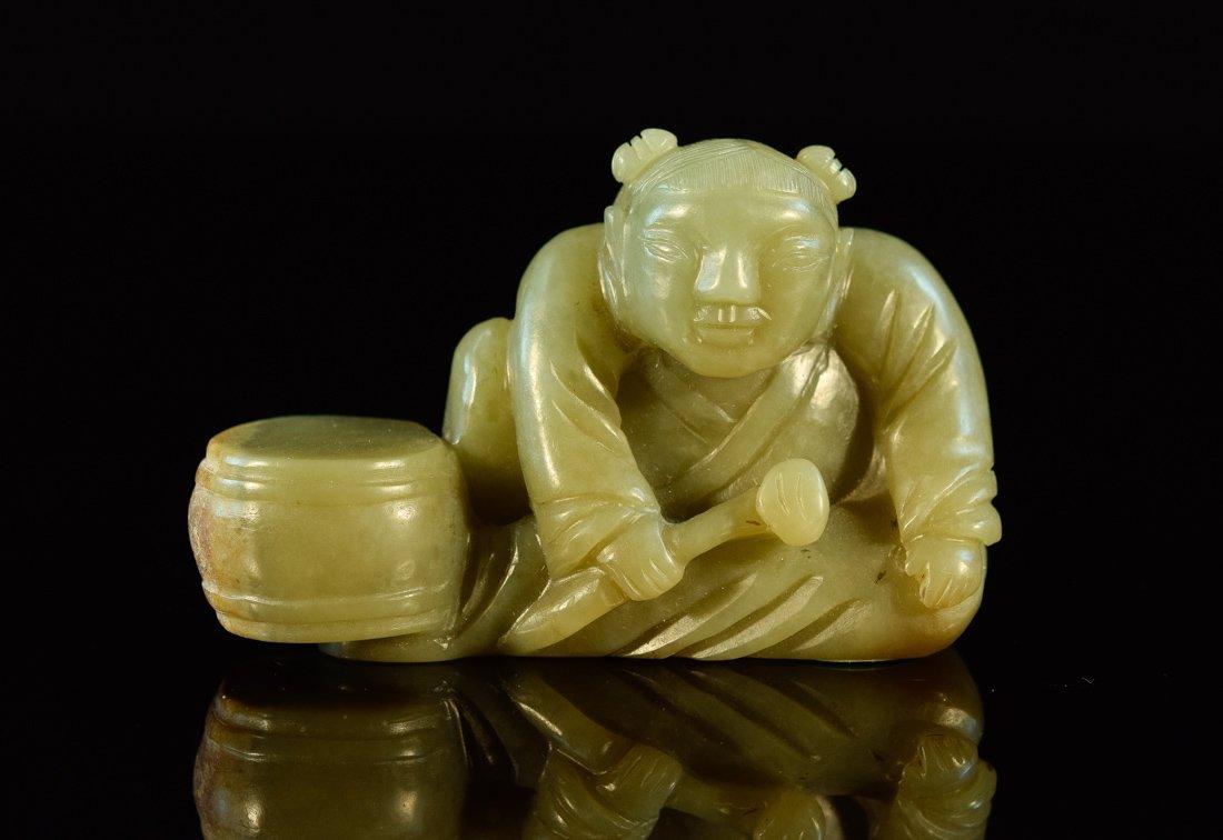 Chinese Celadon Nephrite Jade of Boy