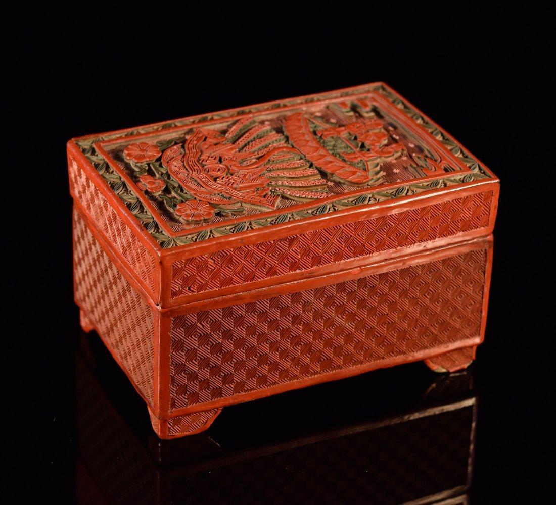 Chinese Cinnebar Box with Boy Scene