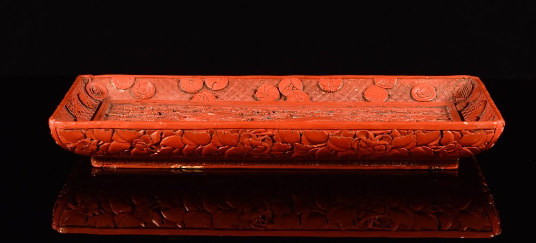 Chinese Carved Cinnebar Lacquer Tray