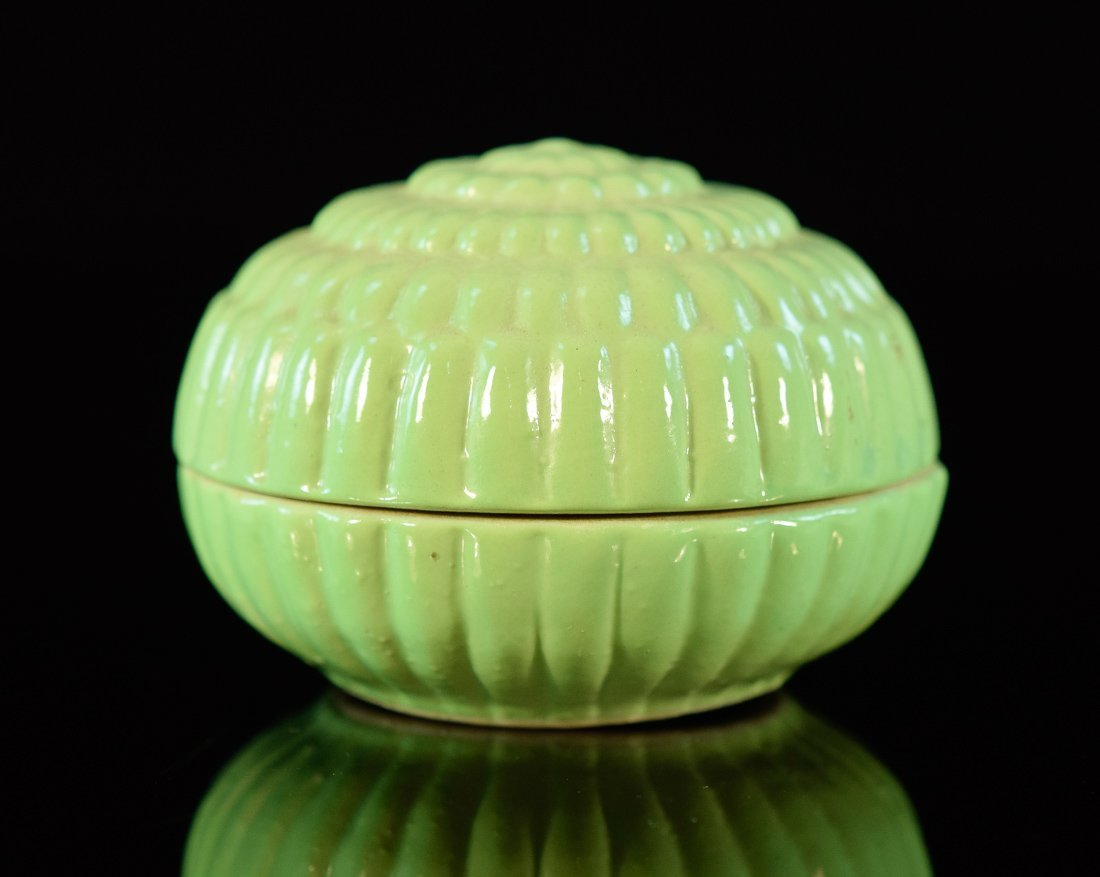Chinese Lime Green Porcelain Scholar Seal Paste Box
