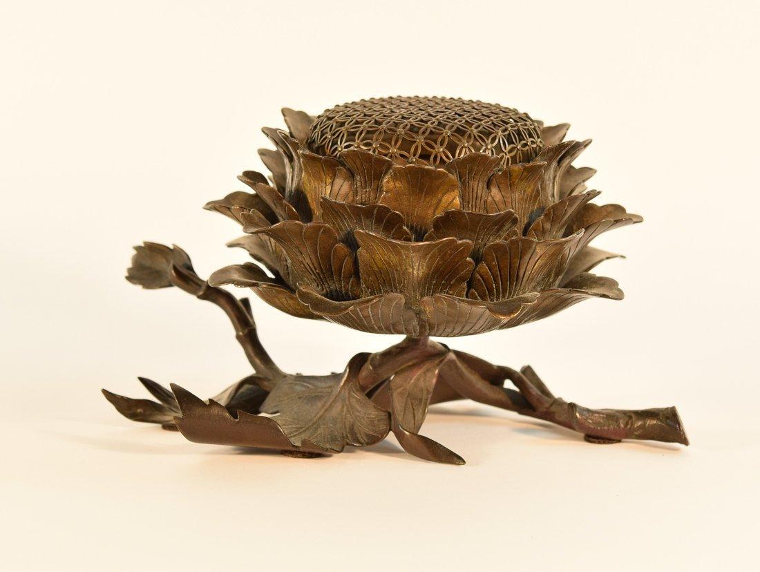 Japanese Bronze Censer of Peony Shape