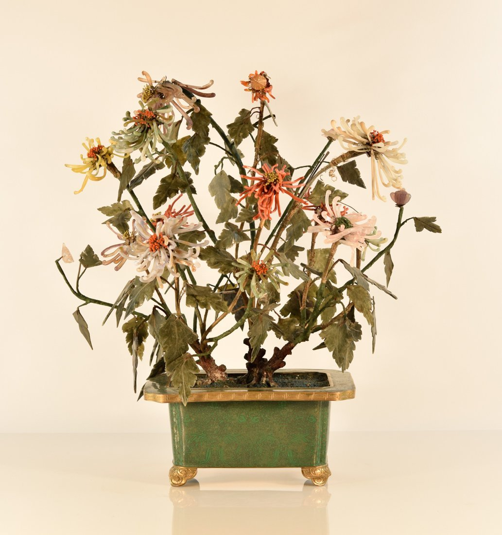 Chinese Cloisonn Planter with Coral Agate Flowers