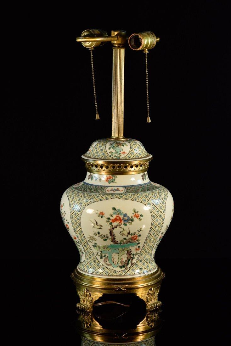 Chinese Famille Verte Porcelain Lamp