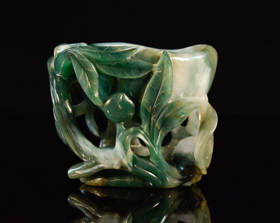 Chinese Jadeite Brush Washer of Peach Form